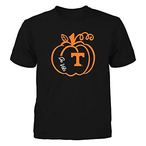 (FanPrint Tennessee Volunteers T-Shirt - Pumpkin Outline - Slogan - Youth Tee/Black/XL)