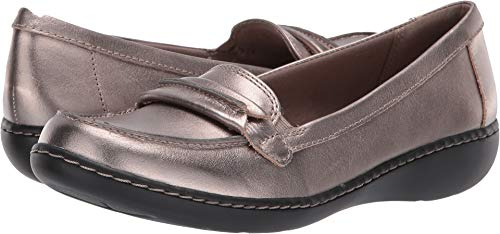 CLARKS Women's Ashland Lily Loafer,pewter leather,8.5 M - Shoes Ladies Clarks
