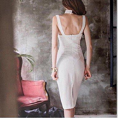 PU&PU Robe Aux femmes Gaine Simple,Couleur Pleine Licou Mi-long Coton / Polyester , black , m