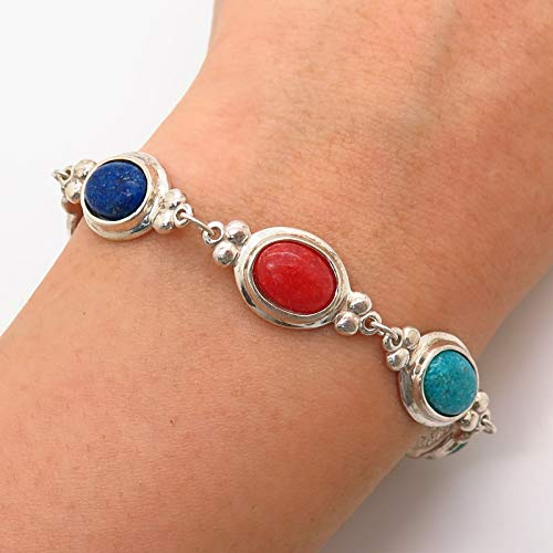 - 925 Sterling Silver Vintage Multi-Color Gem Crushed Inlay Link Bracelet 6 3/4