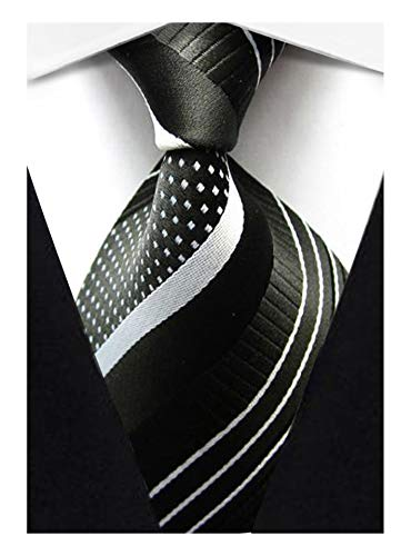 (Veegood Men's Classic Jacquard Woven Silk Tie Plaid Striped Black White Necktie for Men Party Suit)