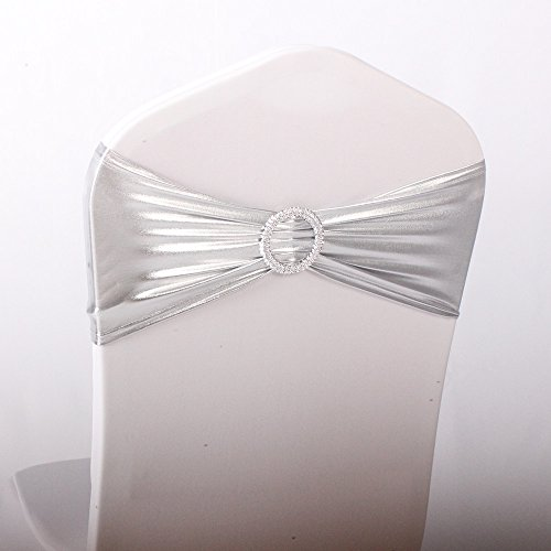 Any Color Sash (LOVWY 20 Colors Optional Spandex Stretch Pack Of 50 PCS Chair Sashes Bows For Wedding Party Engagement Event Birthday Graduation Meeting Banquet Decoration (50 PCS, Metallic Silver))