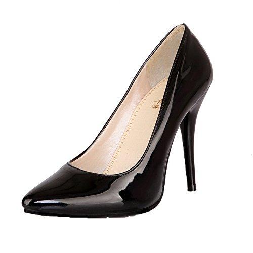 Amoonyfashion Kvinnor Lackläder Pådrag Slutna Tå Höga Klackar Pumpar-skor Svarta
