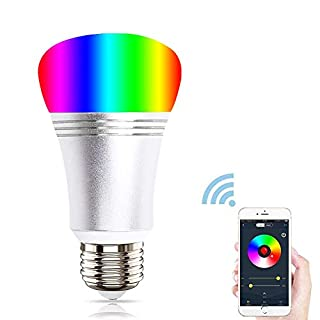 Adiding WiFi Smart Light Bulb Compatible with Alexa Google Home Voice Control RGB Color Changing Dimmable LED Bulbs Remote Control by iPhone iOS & Android Smartphone– Dimmable– E26-5 Watt, Silver