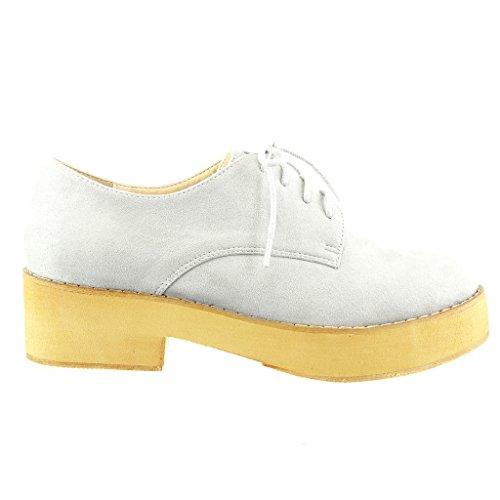 Angkorly - Zapatillas de Moda zapato derby zapatillas de plataforma mujer acabado costura pespunte Talón Tacón ancho 5 CM - Gris
