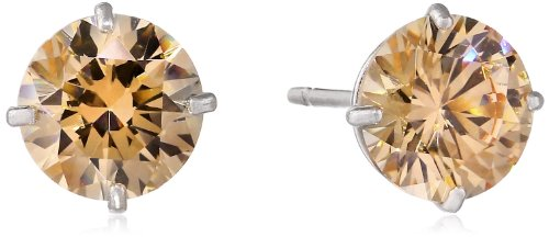 10k Gold Champagne Swarovski Zirconia Stud Earrings (2 cttw)