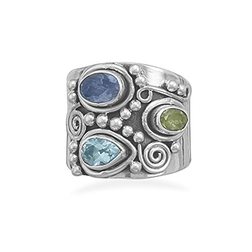 Etruscan Wide Band Three Stone Iolite, Peridot, Blue Topaz Sterling Silver Ring, 9