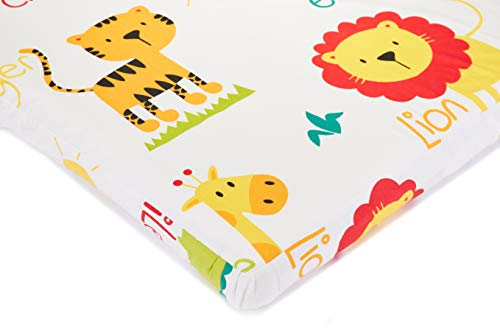 """KFZ 1-Piece 100% Organic Cotton Animals Printed Mini Fitted Crib Sheet, 24x47Ultra Soft Breathable Toddler Nursery Bedding for Boys and Girls, Suitable for Babies Mattress (Zoo, White, 24x 47"""")"""