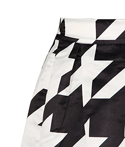 Skirt Black Flared Women's Casual White Waistband Pleated Print and ZIOOER Elastic Digital Rn6gwZq
