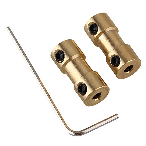 - 2pcs 3mm-3mm Golden Brass Shaft Coupling Coupler Motor Transmission Connector