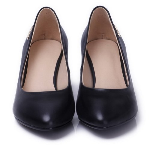 AmoonyFashion Womens Closed Round Toe Kitten Heel Chunky Heels Cow Leather PU Soft Material Solid Pumps Black 16NsgSoAUI