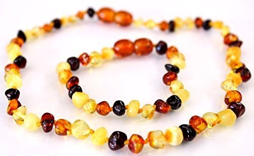 Price comparison product image Natural Baltic Amber Baby Teething Necklace and Bracelet Baroque Beads Multicolour Safety Knotted by Ambermilana