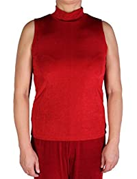 Women's Sleeveless Mock Turtleneck Top Made in USA S-2X Red