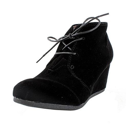 Booties M Black Patricia Suede Forever US Lace 01 Wedge Womens B 6 Ankle Link Faux Up wxvvqRnOZC