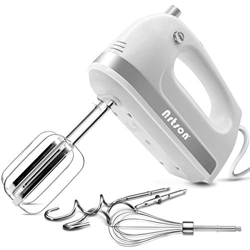 Nrtson Hand Mixer Electric, Handheld Kitchen Mixers with 5 Stainless Steel Attachments, 5-Speed Max 400W Powerful Turbo…