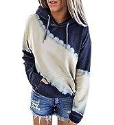 Asvivid Womens Fashion Long Sleeve Drawstring Hoodie Tie Dye Print Casual Sweatshirt With Pocket
