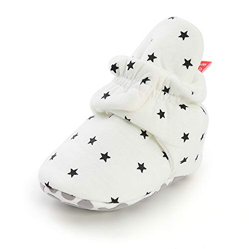 QGAKAGO Baby Girls Boys Fleece Booties Cotton Lining and Soft Sole Shoes (0-6 Months Infant, White-3)