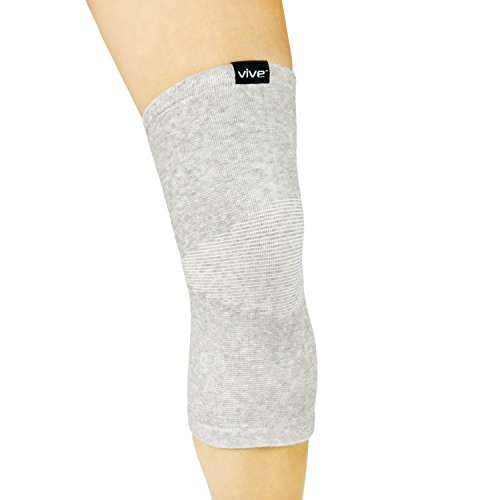 Vive Knee Sleeve (Pair) - Bamboo Charcoal Elastic Compression Brace - Support for Improved Circulation, Recovery, Arthritis Joint Pain - Sports, Running, Jogging - Men, Women (Gray) by VIVE