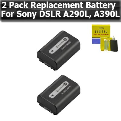 2 Pack Replacement High Capacity (1000 mAH) Battery for Sony NP-FH50 for Sony Alpha DSLR-A290l + Alpha DSLR-A390L A330L A330 DSC-HX100 Digital SLR Cameras + - Npfh50 Battery Lithium