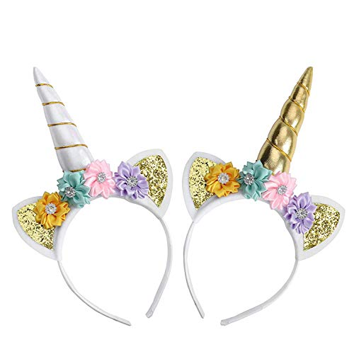 Unicorn Headband, Unicorn Horn Headbands, Adecco LLC Gold and Silver Glitter Hairbands for Birthday Chrismas Costume Party