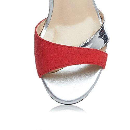 Amoonyfashion Kvinna Blandningsmaterial Kick-häl Öppen Tå Diverse Färg Spänne Sandaler Röda