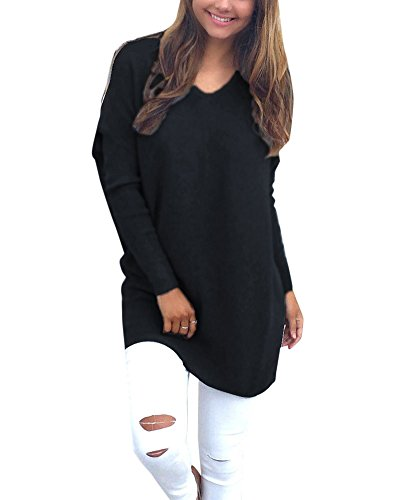 Pull Tricots Pullover Chemisier Manches Longues V Cavalier Hauts Noir Col Femmes Occasionnels F4aHnn
