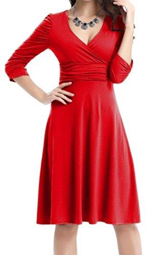 Neck Sleeve Swing Pleated Womens Elegant Cruiize Dresses Midi Long V Red wIExqTnn4S