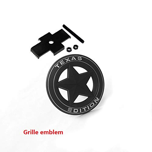 1pc OEM Grille Black Texas Edition Emblem Badge 3D logo Replacement for Tundra Silverado RAM 1500 2500 white ()