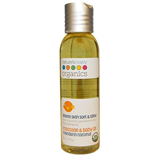 Nature's Baby Organics, Organic, Massage & Baby Oil, Mandarin Coconut, 4 oz (113.4 g) - 2pc
