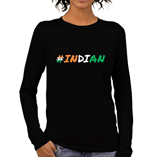 Pooplu Womens Hashtag Indian Cotton Printed Round Neck Long Sleeves Black & White T Shirt. Independence Day, India…