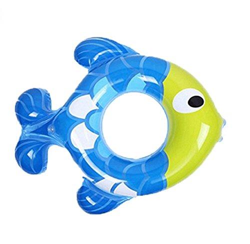 Baby Inflatable Fish-Shaped Neck Padded Swim Ring Baby Underarm Circle (Blue)
