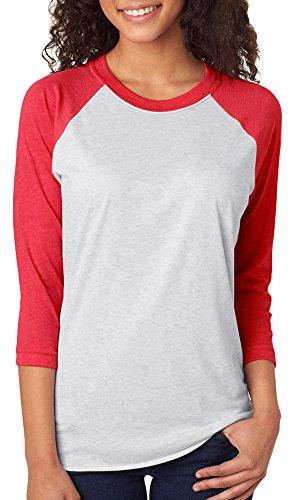 Next Level Unisex 3/4-Sleeve Raglan T-Shirt, Vintage Red/HTHR Wht, - White Jersey Unisex Large