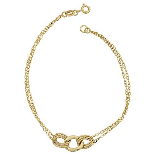 (Kooljewelry 10k Yellow Gold Triple Link Double Strand Bracelet (7.5 inch))