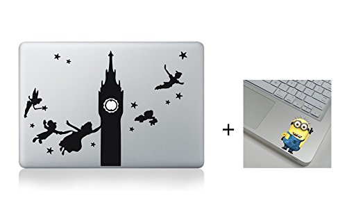 Peter Pan Flying 13 15 17 inch Air Pro Cool Design Colored Black White Macbook Sticker Decal Vinyl Skin Cover Laptop -Buy 2 Get 1 Free (Peter Pan Macbook Decal compare prices)