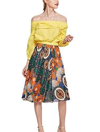 GUOCU Mesdames Imprimer Jupe Courte Summer Beach Bohme Casual Jupe lastique Taille lgante Jupe Longue Longue Hua Se