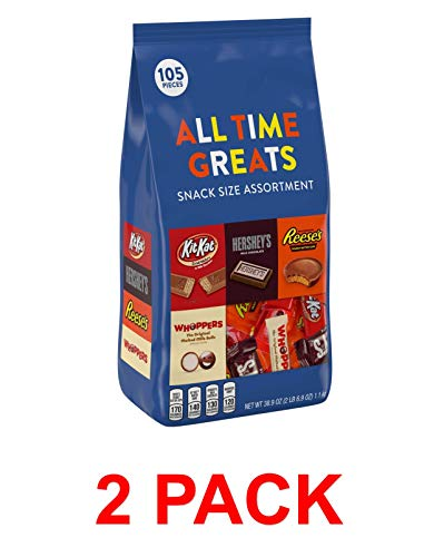 HERSHEY'S Alll Time Greats Chocolates Variety Assortment, REESE'S, KIT KAT, HERSHEY'S, WHOPPERS, 2 Pound Bag (105 Count (Pack of 2))