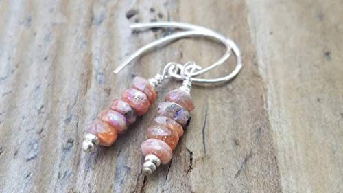 Mystic Sunstone and Hill Tribe Silver Earrings -