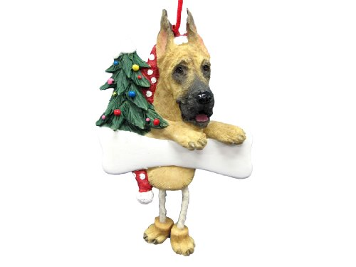 Great Dane Ornament with Unique ''Dangling Legs'' Hand Painted and Easily Personalized Christmas Ornament by E&S Pets