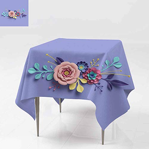 Square Tablecloth,3D Rendering Abstract Round Floral Bouquet Botanical Background Bridal Paper Flowers Pattern papercraft Candy Pastel Colors Table Cover for Dining 36x36 Inch Bright hue - Eggplant Natural Hues