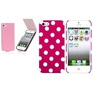 2x Rosa con Blanco Punto Polka Funda+Rosa Clara Cuero Para IPHONE 5 5G