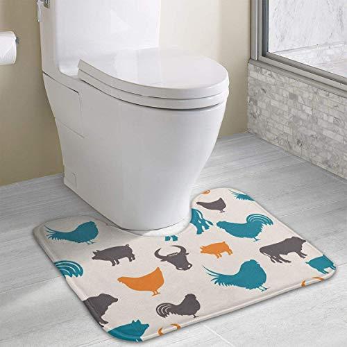 Bennett11 Farm Animals U-Shaped Toilet Floor Rug Non-Slip Toilet Carpets Bath Mats Rug 19.2″x15.7″