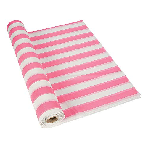 (Fun Express - Pink/White Striped Tablecloth Roll - Party Supplies - Table Covers - Print Table Rolls - 1 Piece)