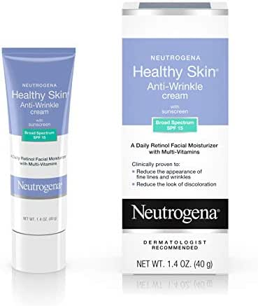 Neutrogena Healthy Skin Anti Wrinkle Retinol & Vitamin E Face & Neck Cream Moisturizer with SPF 15 Sunscreen, Oil-Free - Retinol, Green Tea, Glycerin, Vitamin E, Vitamin A & Vitamin B5, 1.4 oz