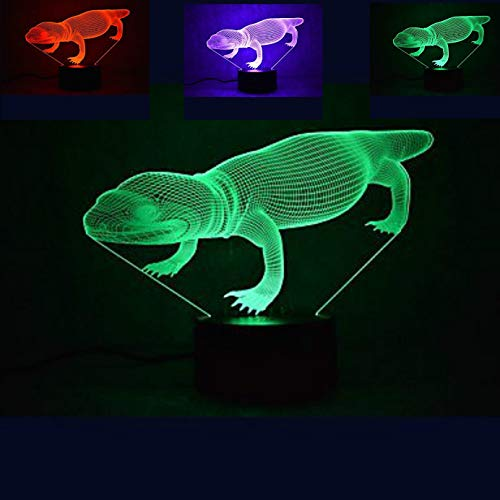 Jinnwell 3D Lizard Night Light Animal Lamp Illusion Night Light 7 Color Changing Touch Switch Table Desk Decoration Lamps Perfect Christmas Gift with Acrylic Flat ABS Base USB Cable Toy (Color Lights Lizard Seven)