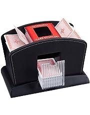 Relaxdays, Zwarte kaartenschudder, elektrisch, leer, 4 decks, automatische kaartenschudmachine voor het mengen van kaarten, standaard