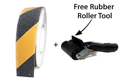 Price comparison product image Tacky Stick Anti-Slip Yellow and Black Safety Tape + Free Rubber Brayer - High Traction Caution Tape for Stairs or Walkways - 65 feet x 2 inches