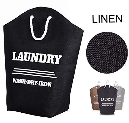 Laundry Hamper Basket with Handle Easily Transport Linen Clothes Storage Ideal for Apartments, Travel, Dorm Rooms or Vacations,Black