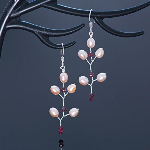 Garnet Sterling Silver Pearl Long Twig Earrings Handmade Bohemian (Bohemian Garnet Earrings)