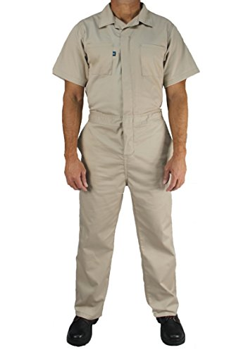 Cotton Blend Khaki - Kolossus Cotton Blend Short Sleeve Coverall (Khaki, S)