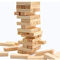 Pytho Jenga Large | Wood Block Stacking Game for Adults and Kids | 100% Authentic Pine Wood | 54 PlainClassic Blocks | Size: 34 X 9 X 9 cm